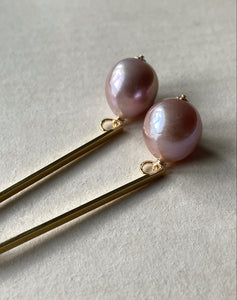Big Pink Edison Pearls on Goldplated Long Bar Studs