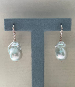 White Baby Baroque Pearls 14kRGF Earrings