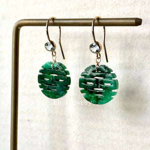 喜喜 #1 Simple Double Happiness Old-Mine Jade Earrings