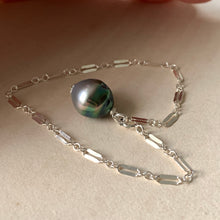 Load image into Gallery viewer, Silver-Peacock AA Tahitian Pearl 925 Silver Bracelet