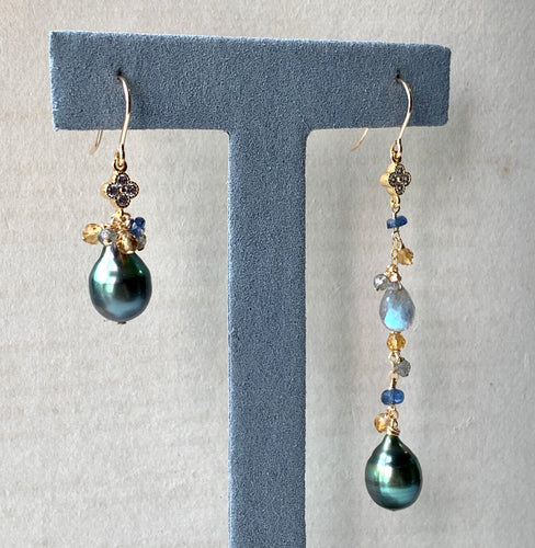 Peacock Tahitian Pearls & Gems Mismatched 14kGF Earrings