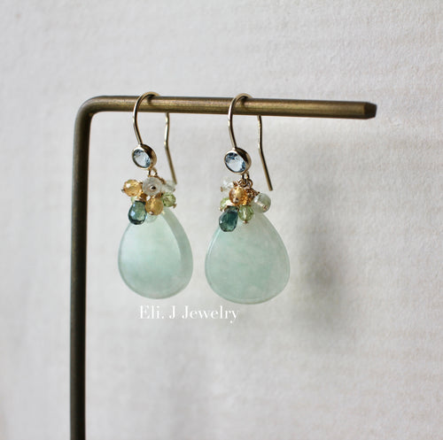 Apple Green Type A Smaller Teardrops, Teal Sapphire, Gemstones 14kGF Earrings