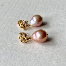 Load image into Gallery viewer, Peach Edison Pearl Drops on Bouquet of Flowers Studs