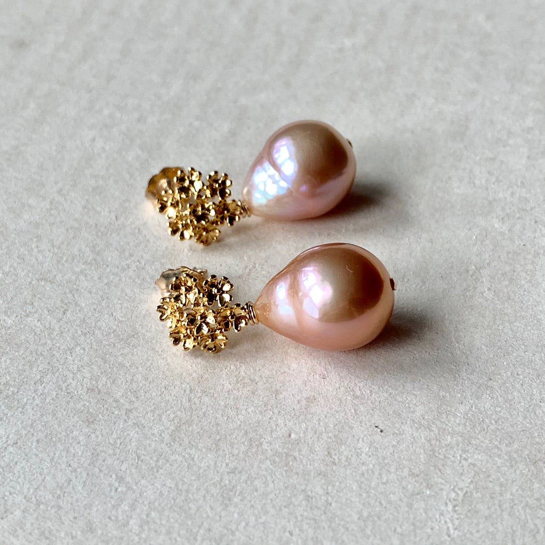 Peach Edison Pearl Drops on Bouquet of Flowers Studs