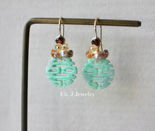Load image into Gallery viewer, Exclusive to Eli. J: 喜喜Double Happiness Mint Green Jade & Autumn Gems 14kGF Earrings