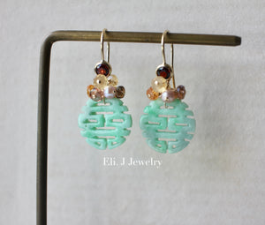 Exclusive to Eli. J: 喜喜Double Happiness Mint Green Jade & Autumn Gems 14kGF Earrings