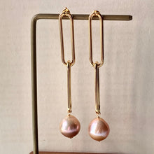 Load image into Gallery viewer, Peach AAA Edison Pearls Long Statement Link Earrings
