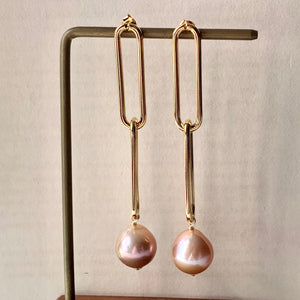 Peach AAA Edison Pearls Long Statement Link Earrings