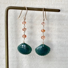 Load image into Gallery viewer, Eli. J Exclusive: Emerald Type A Jade Seashells & Sunstone 14kGF Earrings