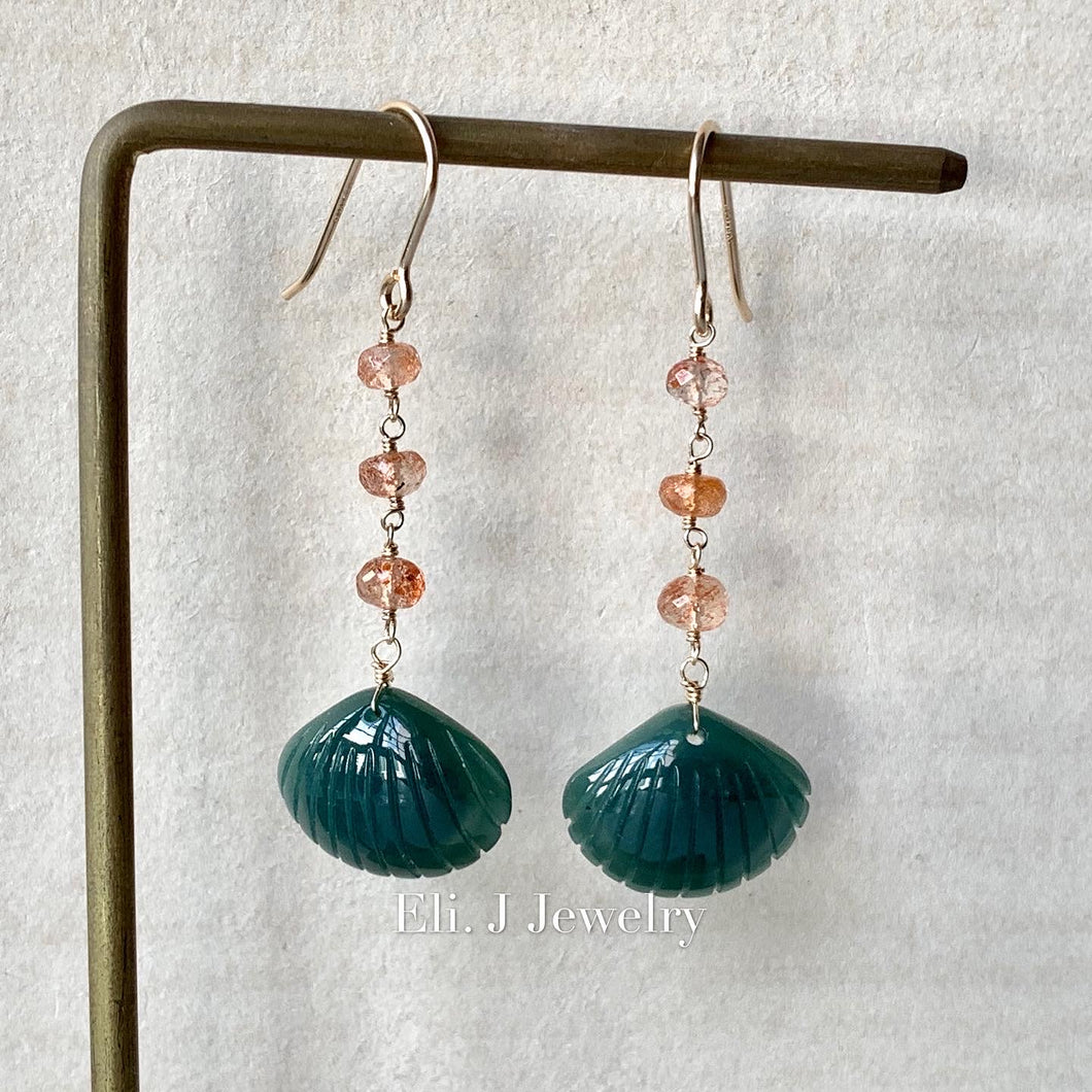 Eli. J Exclusive: Emerald Type A Jade Seashells & Sunstone 14kGF Earrings