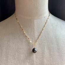 Load image into Gallery viewer, AAA Dark Tahitian Pearl on 14kGF Intricate Necklace