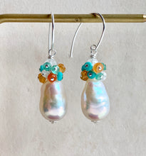 Load image into Gallery viewer, White Pearls, Turquoise, Orange Garnet, Apatite on 925 Silver