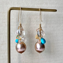 Load image into Gallery viewer, Golden Peach Edison Pearls, Turquoise, Golden Rutile, Gemstone 14kGF Earrings