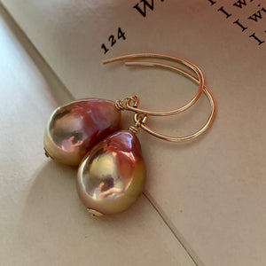 Rainbow Peach- Gold Lustre Edison Pearls on 14k Gold Filled