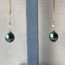 Load image into Gallery viewer, AA Tahitian Bright Peacock Pearls 14kGF Threaders