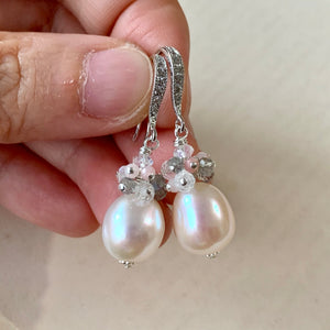 AAA Cream Pearls with Gemstones 925 Silver Pearls