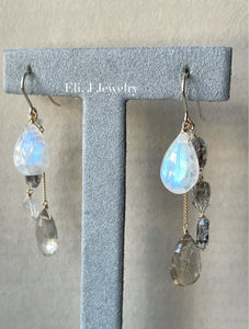 Winter 3: Rainbow Moonstone, Golden Rutile, Herkimer Quartz 14kGF Earrings