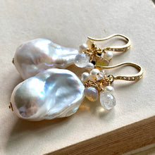 Load image into Gallery viewer, AAA White Baroque Pearls Opal Rainbow Moonstone