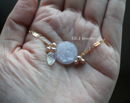 Exclusive: Peony Lavender Type A Jade, Pearls, Rainbow Moonstone 14kGF Necklace
