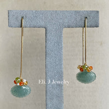 Load image into Gallery viewer, Eli. J Exclusive: Type A Jade Shells & Citrus Gemstone Threader Earrings