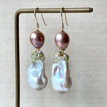 Load image into Gallery viewer, AAA Ivory Baroque Pearls, Pink-Champagne Edison Pearls & Green Gemstones