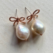 Load image into Gallery viewer, White Baroque Pearls (Medium) Rose Gold Ribbons