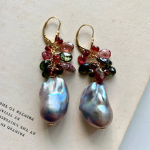 Load image into Gallery viewer, Elegance- AAA Dark Silver Baroque Pearls, Tourmaline 14k Gold Filled