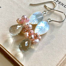 Load image into Gallery viewer, Mother of Pearl, Pink Gems & Green Amethyst Sterling Silver Earrings
