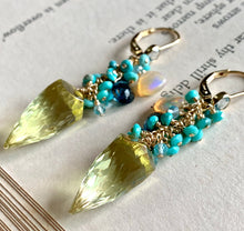 Load image into Gallery viewer, Sunshine- Lemon Quartz, Turquoise 14k Gold Filled Earrings