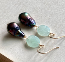 Load image into Gallery viewer, Peacock Baby Baroque Type A Jade 14kGF Earrings