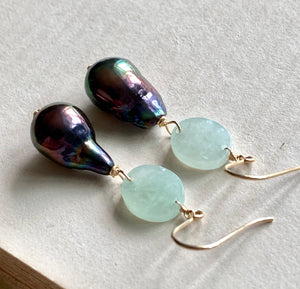 Peacock Baby Baroque Type A Jade 14kGF Earrings