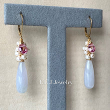 Load image into Gallery viewer, Eli. J Exclusive: Lavender Jade Drops, Pink Topaz, Pearls 14kGF Earrings