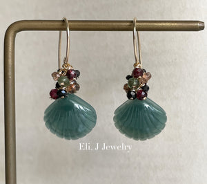 Eli. J Exclusive: Bluish-Green Jade Shells, Garnet, Spinel Earrings