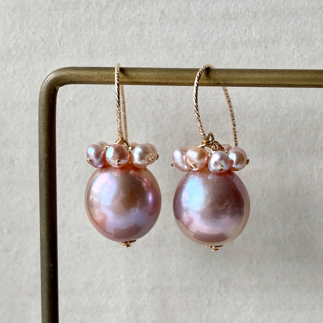 Large Pink Edison Pearls & Blush Pearls 14kGF Earrings