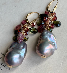 Elegance- AAA Dark Silver Baroque Pearls, Tourmaline 14k Gold Filled