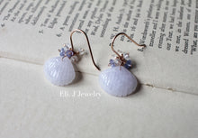 Load image into Gallery viewer, Light Lavender Jade Shells, Tanzanite, Rainbow Moonstone 14kRGF Earrings