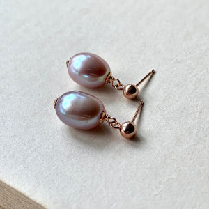 Lavender Freshwater Pearls on 14k RGF