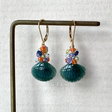 Load image into Gallery viewer, Eli. J Exclusive: Emerald Type A Jade Shells & Gems 14kGF Earrings
