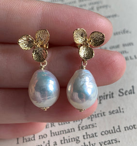 White Edison Pearls on Gold Plated Flowers