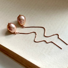 Load image into Gallery viewer, Copper-Pink AAA Edison Pearls 14kRGF Threaders