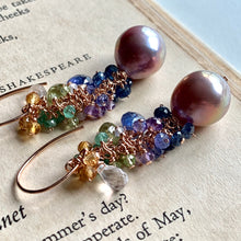 Load image into Gallery viewer, Aurora- Lavender Edison Pearls, Tanzanite, Peridot 14k Gold Filled Earrings