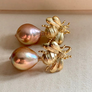 Peach Gold AAA Edison Pearls & Bees