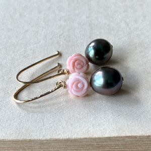 Rose Tahitian Pearls & Shell Roses (Hans Forged) 14kGF Earrings