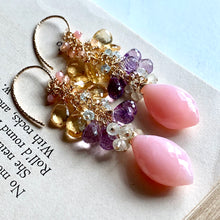 Load image into Gallery viewer, Soft Rainbow- Pink Opal, Pink Amethyst, Citrine 14k Gold Filled Earrings