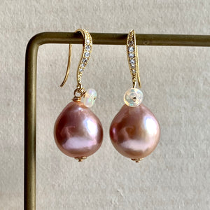 Pink-Peach Edison Pearls & Opal Earrings