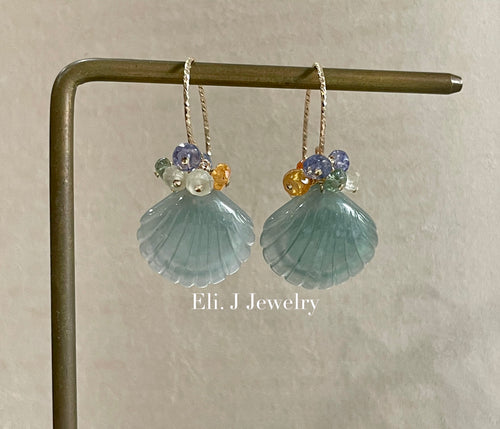 Exclusive to Eli. J: Bluish-Green Type A Jade Shells & Fresh Gemstones Earrings