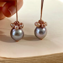 Load image into Gallery viewer, Silver & Pink Pearls 14kRGF Threaders