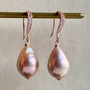 Pretty Pink Edison Pearls Rose Gold Earrings