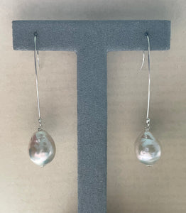 White Pearls on Long 925 Silver Hooks