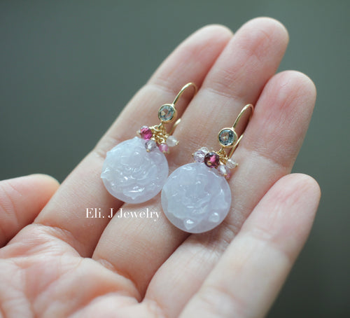 Exclusive: Peony Type A Lavender Jade & Gemstones 14kGF Earrings